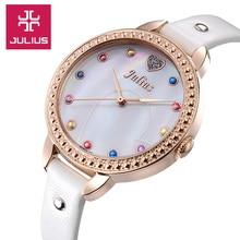 Julius dame femmes Bracelet à Quartz heures meilleur coquille de mode robe enfants en cuir Bracelet fille de noël enfants cadeau JA-822