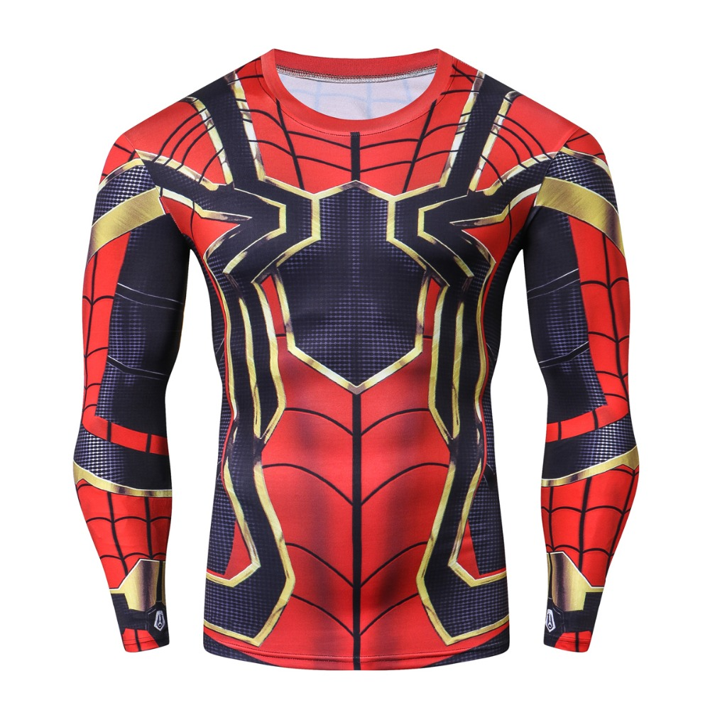 Iron spider Spiderman 3D Printed T shirts Men Compression Shirts 2018 NEW Crossfit Tops Male Cosplay Costume Clothing