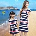 Мать дочь платья мама и дочь платье хлопок девочки лето стиль платье полоска семья взгляд мама и я одежда