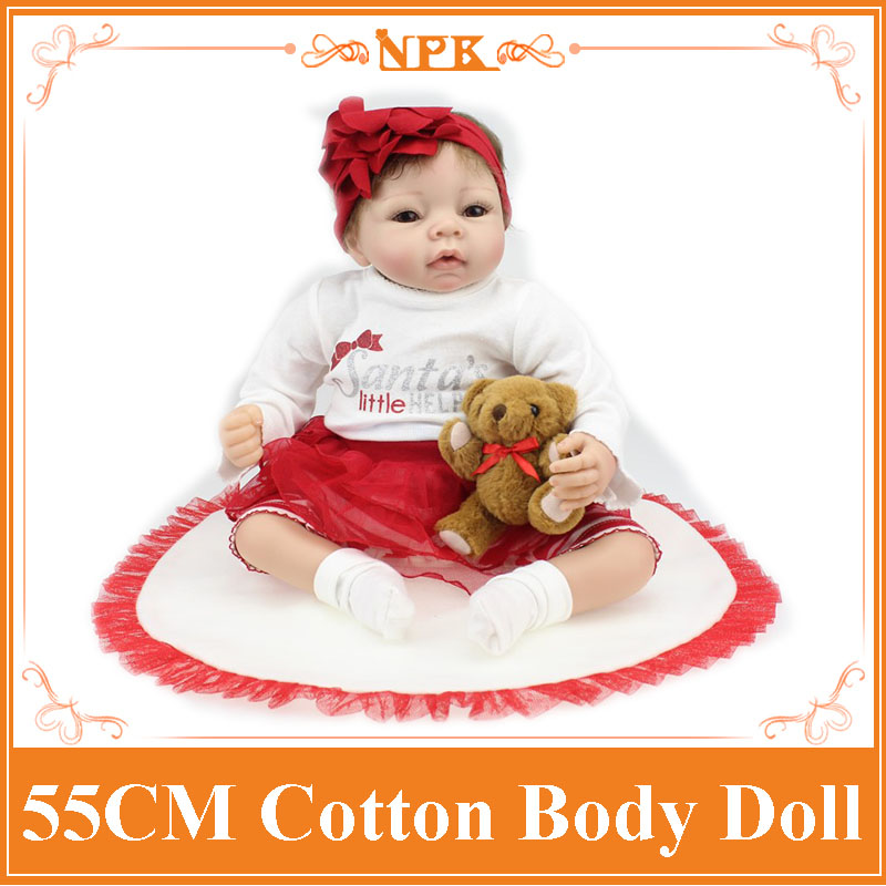 22 Inches 55CM Lovely Silicone Reborn Baby Dolls Realistic Hobbies Handmade Baby Alive Doll For Girls Safe Classic Toys