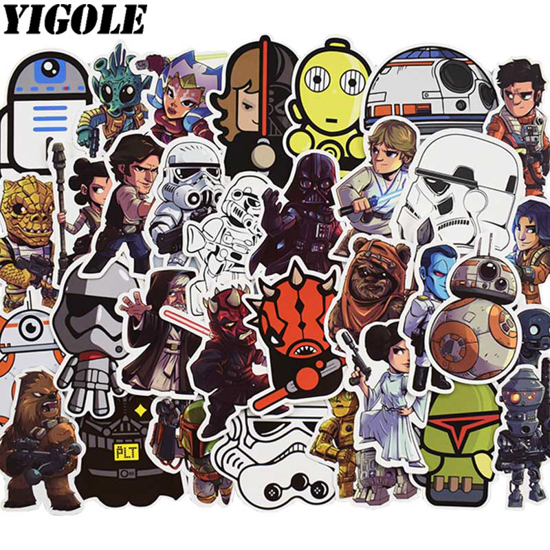 50pcs/pack Funny Star Wars Stickers Kids Toy Anime Graffiti Sticker For Luggage Laptop Skateboard Moto Car Waterproof Sticker