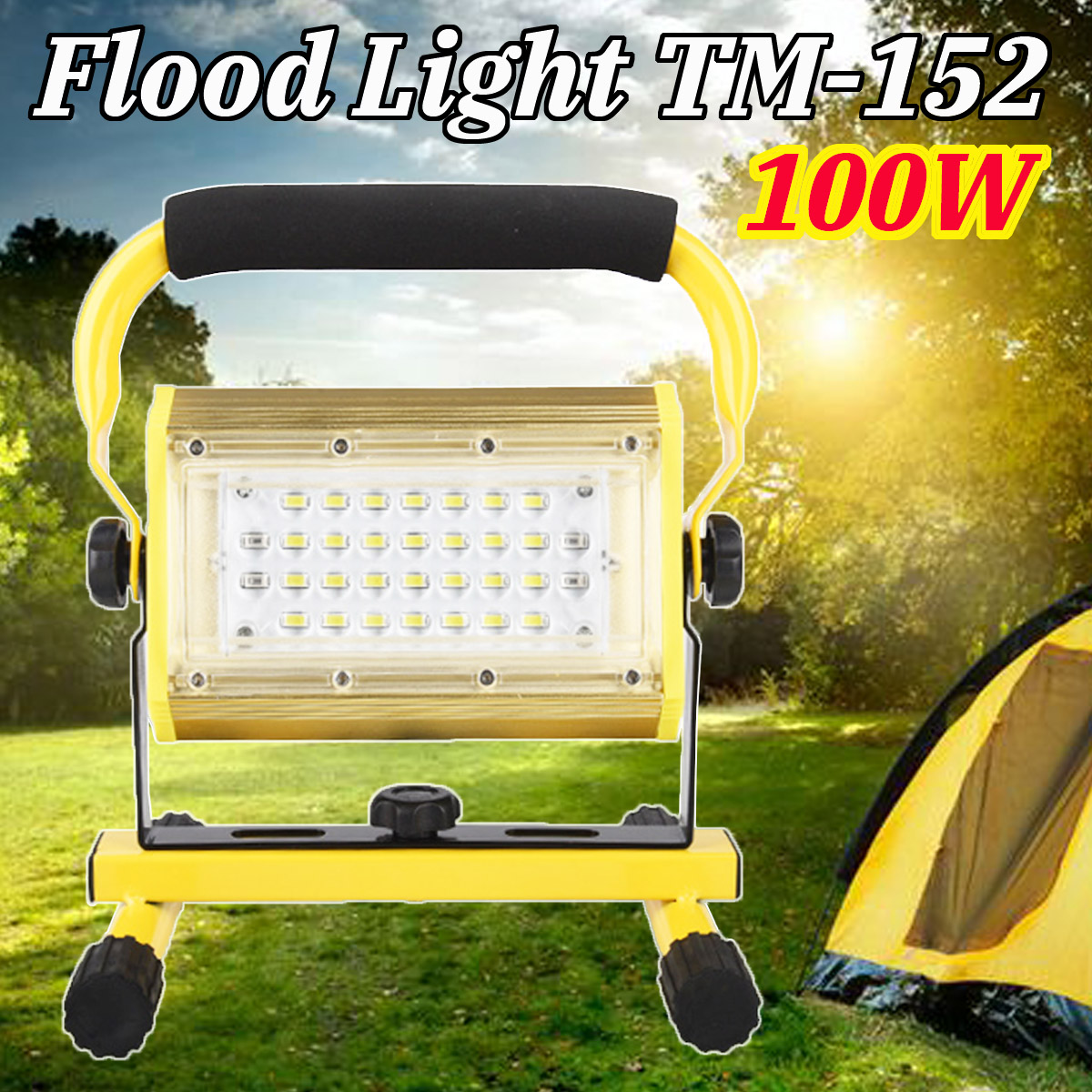 New 2400lm 100W LED Portable COB Flood Light LED Flashlight Work Light Waterproof IP65 for Outdoor Camping cob led work light waterproof lawn lamp flashlight 20w high power 2400lm outdoor hiking camping tent light portable searchlight