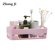 Zhang Ji Bathroom Wall Mounted No Drilling Storage Holder Racks 2 Colors Paste Installation Storage Box PP Material Shelve ZJ036(China)