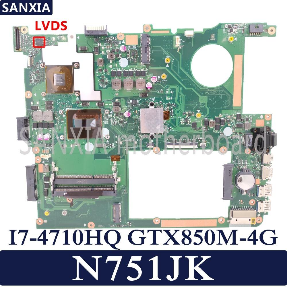 KEFU N751JK carte mère d'ordinateur portable pour ASUS N751JK N751J N751 Test carte mère d'origine I7-4710HQ GTX850M-4G LVDS