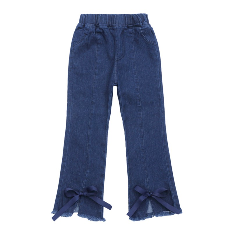 Girls Kids Children Casual Solid Mid Boot Cut Elastic Waist Stretch Self-Cultivation Ribbon Bow Denim Jeans