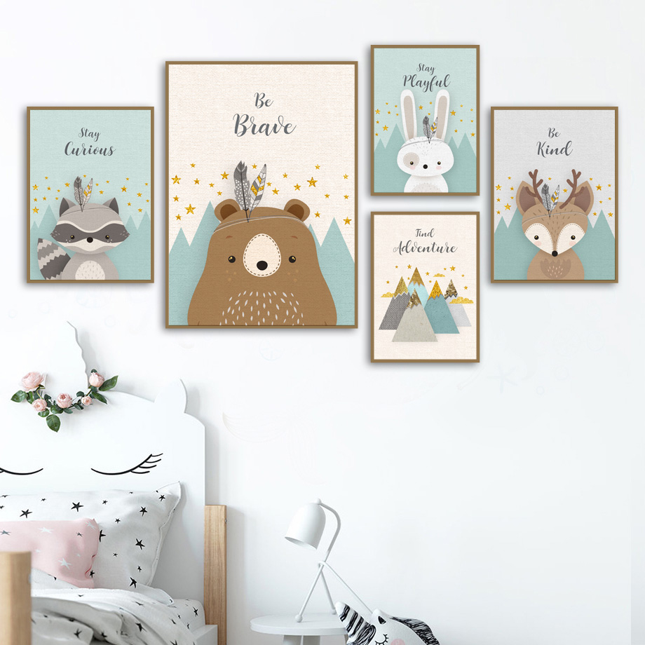 Bear Rabbit Fox Deer Nursery Wall Art Canvas Painting Cartoon Nordic Posters And Prints Wall Pictures Girl Boy Kids Room Decor