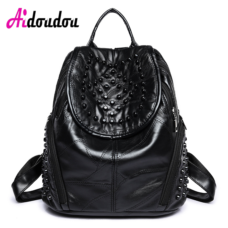 Woman Large Backpack Soft Sheepskin +PU Genuine Leather Rivet backpacks for adolescent girls backpack female mochilas J12PT02 jxsltc womens pu leather rivet backpack female backpack for adolescent girl casual small backpacks women pouch fashion lady bag
