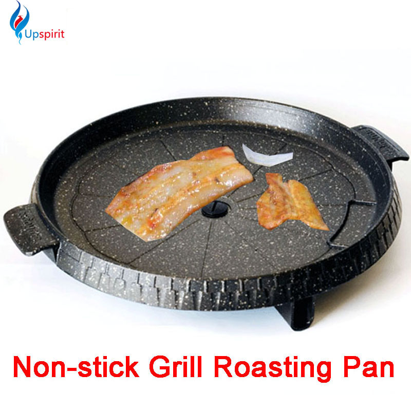 Hot cooking tools aluminum alloy gas grill pan non-stick meat griller round black frying roasting pans steak bbq barbecue espeto