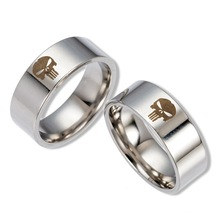 Punisher Skull Titanium Stainless Steel Wedding Band Style Ring Unisex Fashion Jewelry