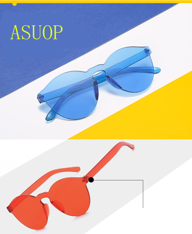ASUOP2018 New Ladies Retro Cat Eye Fashion Glasses High-End Brand Travel Men's Transparent Sunglasses UV400 Round Color Sunglass (2)