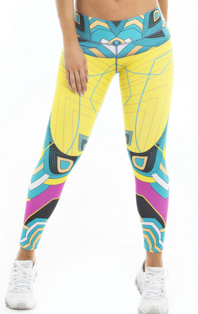 Hot Women Workout Personalized color printing Leggings High Elasticity Slimming Pant Fitness Women Breathable Women Pencil Pant