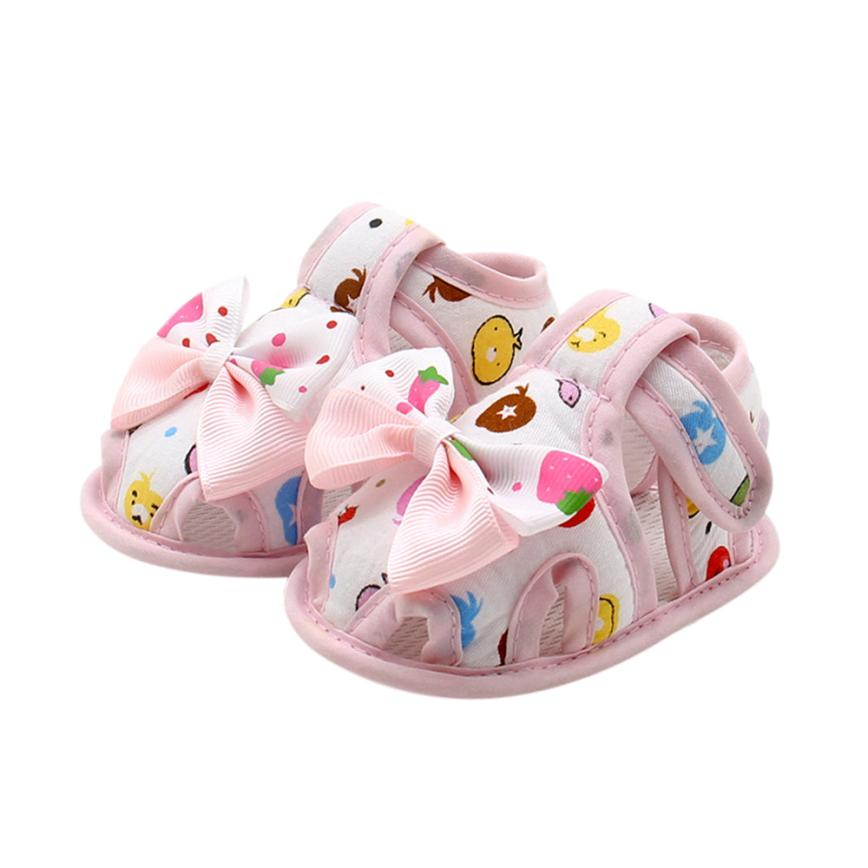 Newborn Infant Baby Girls Summer Bow Soft Sole Toddler Anti-slip Shoes 100% brand new and high quality Great gift to baby
