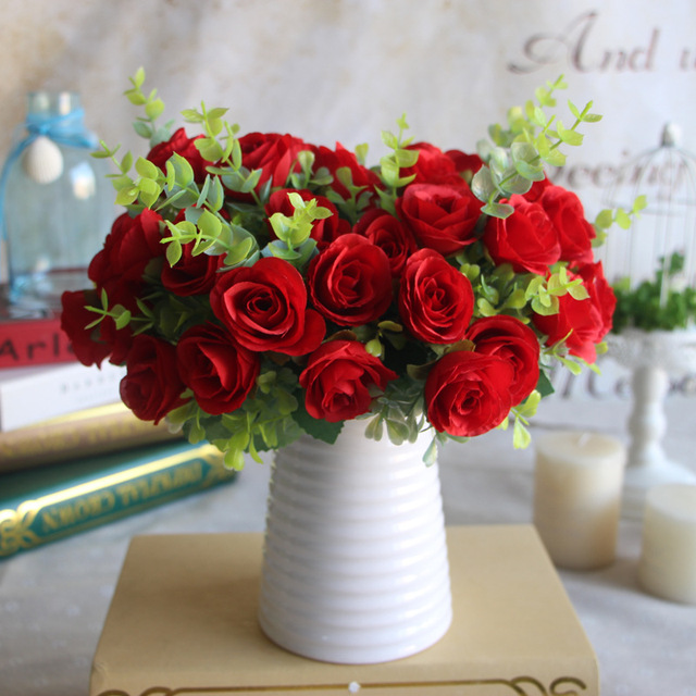 3 Buah 10 Kepala Buatan Bunga Mawar Buket Bunga Sutra Bunga Palsu Bunga  Garland untuk Pesta 27db14f0fa