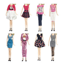 fdaeaf6a7e 8 Set Mini Girl Doll Princess Dresses Party Evening Skirts Gown Tops  T-shirts Pants Outfits Clothes Accessories for Barbie Toy