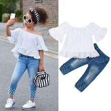 От 1 до 6 лет комплекты одежды для маленьких девочек, белые топы, футболка, джинсовые длинные штаны, джинсы, комплект одежды