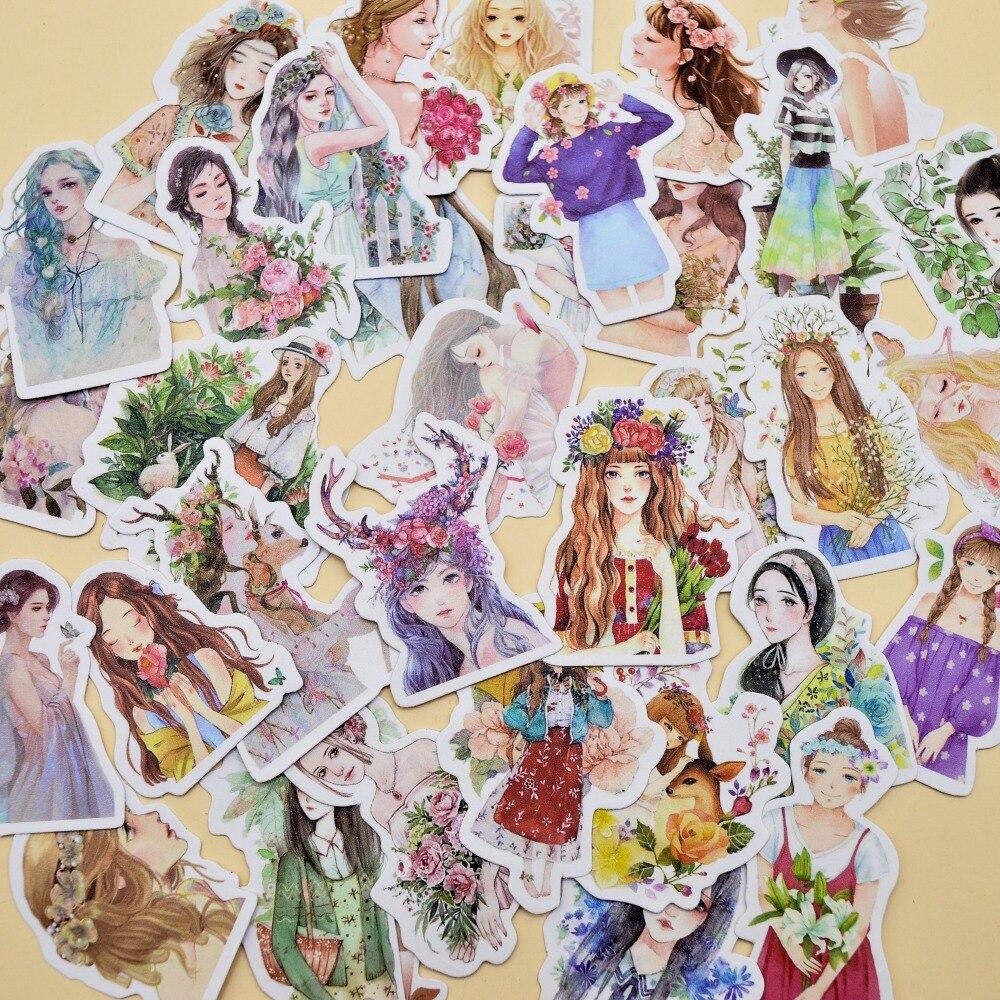 30pcs Kawaii Youthful Pretty Girls Small Sticker Self-made Flower  Blooming Girl Stickers/ Flower Paper Sticker