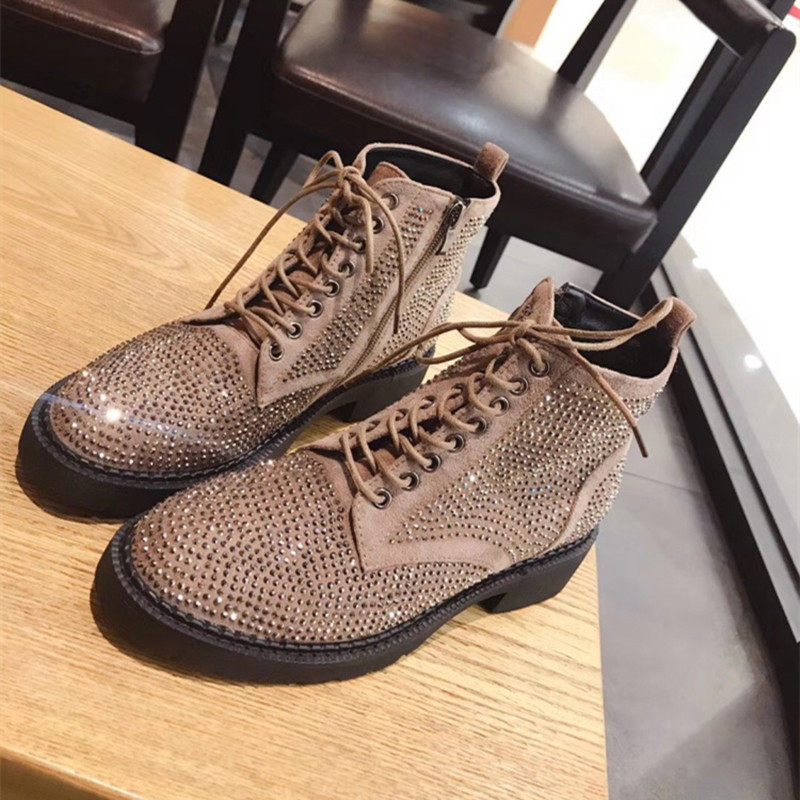 MStacchi Fashion Rhinestone Shoes Woman Punk Style Cow Suede Ankle Boots For Women Round Toe Autumn Winter Boots Big Size 33-43