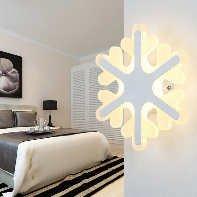 Simple Modern Bedroom Bedside LED Wall Lamp Creative Aisle Lamp Children Room Snow Acrylic Lamp Cafe Light Free Shipping modern minimalist 9w led acrylic circular wall lights white living room bedroom bedside aisle creative ceiling lamp