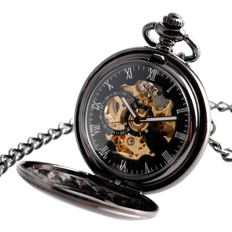 Prix pour Vintage Automatique Mécanique Montre De Poche Hommes Creux Exquis Chaîne Lisse Cas Pendentif Montres Hommes Rétro Noir Heure Horloge