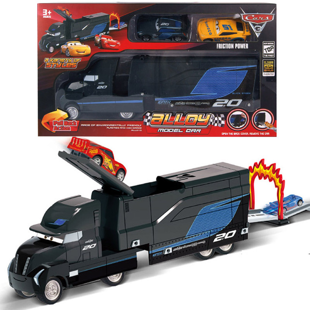 ac5989c12267 Disney cars toys for children Inertia Alloy Model Racing Car 3 Black Storm  Jackson Container Car Black Mai Uncle Transporter