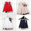 2017 Brand new baby dress casual kids clothes fashion bow baby clothing summer style dresses cotton child outfits plaid costumes