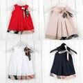 2017 brand new baby dress casual kids clothes moda estilo ropa del bebé del arco del verano vestidos de trajes a cuadros de algodón niño trajes