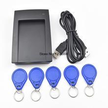 1pcs/lot Access Control 125Khz USB RFID ID EM Card/Keyfobs Reader+5pcs EM4100  keychain