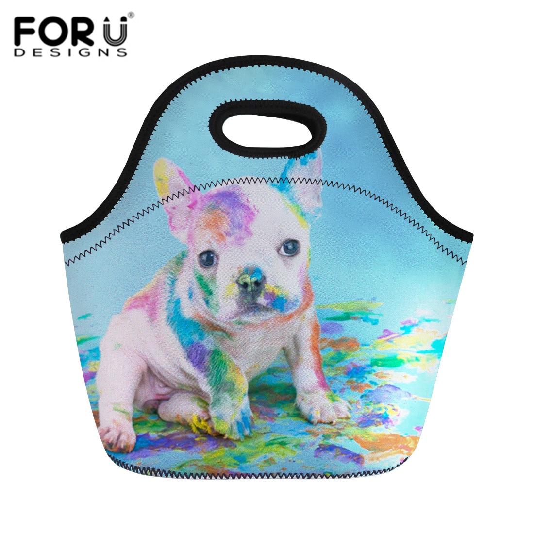 FORUDESIGNS Pugs Printed Neoprene Lunch Bags for Women High Quality Kids Snacks Tote Bag Waterproof Insulated Food Breakfast Box