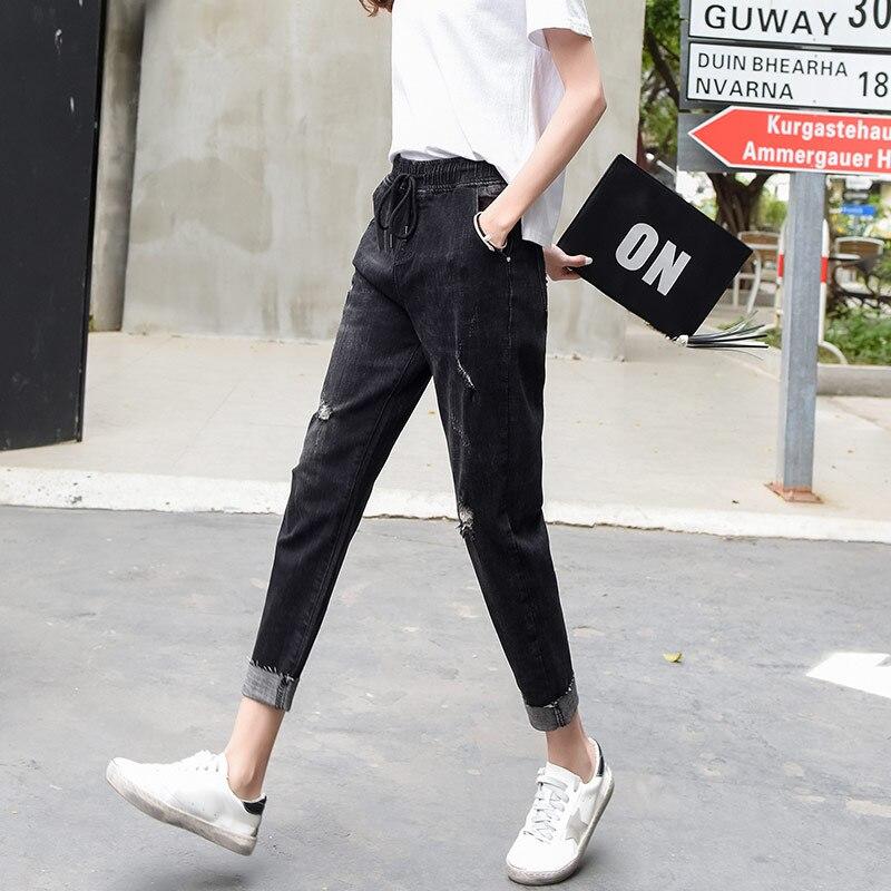 Casual Otoño Mezcla Primavera Tamaño Alta Moda Algodón Pantalones Negro Mujer Capris Agujero De Nueva Cintura Ycy0805 Elástico Más 7qf7HP