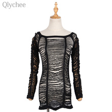 Qlychee Sexy Crochet Hollow Out Mesh T shirt Off Shoulder Long Sleeve Lady Tee Top Club