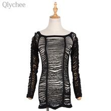 Qlychee Sexy Crochet Hollow Out Mesh T shirt Off font b Shoulder b font Long Sleeve