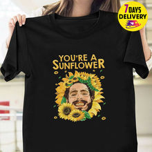 лучшая цена You're A Sunflower Post Malone American Rapper T Shirt Black Size S-3XL Summer New Men Cotton T-Shirt top tee