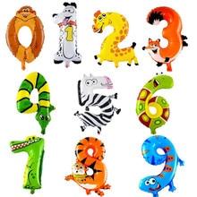 Воздушные шарики в виде животных джунгли для вечеринки в стиле сафари балоны джунгли вечерние украшения из фольги животные баллон день рождения Декор дети мультфильм шляпа