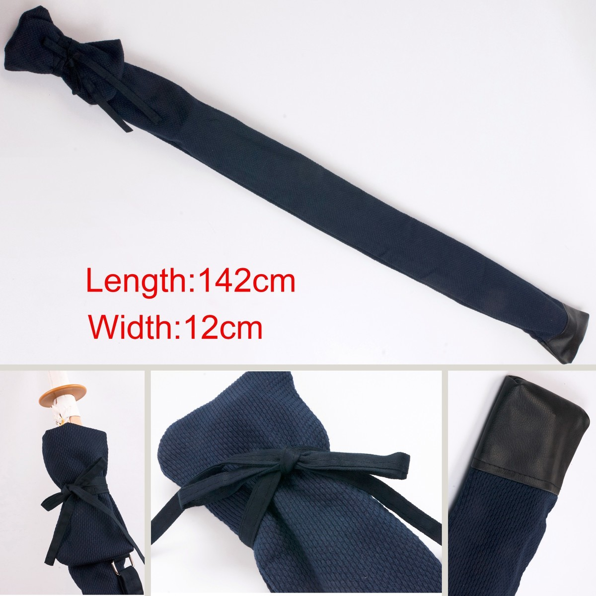 Cotten Leather Kendo Aikido Iaido Sword Bag  Japanese Carry Bag With Strap Hold 2 Swords Length 142cm Width 12cm Free Shipping