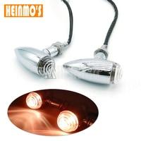 1 Pair Motorcycle Chrome Black Bullet Universal Turn Signal Brake Light Amber Light For Harley Honda