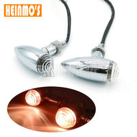 1 Pair Motorcycle Chrome Black Bullet Universal Turn Signal Brake Light Amber Light For Harley Honda