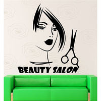 Hair Salon Vinyl Decal Sexy Girl Sicciors Beauty Salon Sign Lettering Barbershop Mural Wall Sticker Hair Shop Room Decoration