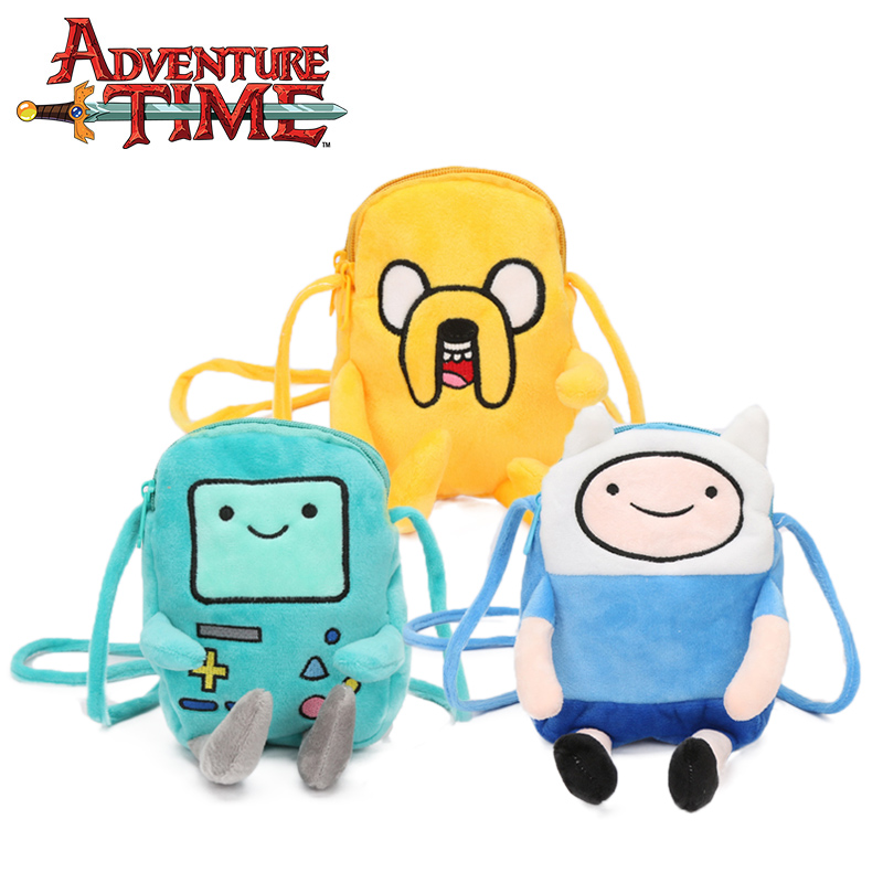 18cm Adventure Time Toys Plush Coin Bag Finn Jake Penguin Gunter Beemo BMO Shoulder Bag Pouch Purse Single Belt Bagpack