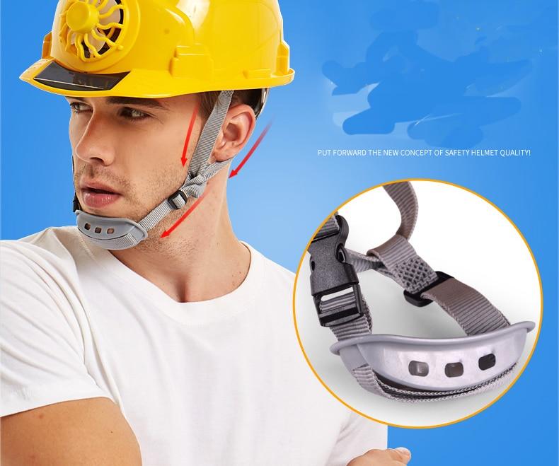 Solar Cooling Fan Safety Helmet Head Protection Hard Hat Adjustable Blue