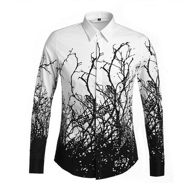 Luxo Ramo Impresso Floral Designer de Camisas dos homens Novos da Marca dos homens Camisas da Festa de Frete Grátis