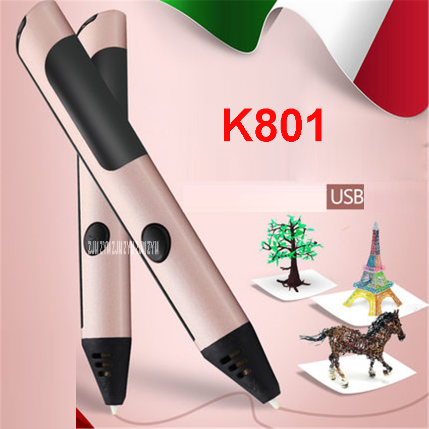 K801 3D Pen DIY 3D Printer pens 3d Printing Drawing pen with ABS/PLA Filaments 1.75mm Best for Kids Christmas Birthday gift christmas gifts fast epacket dewang newest 3d pen wiht usb cable low temperature free 9m abs pla child gift for imagination