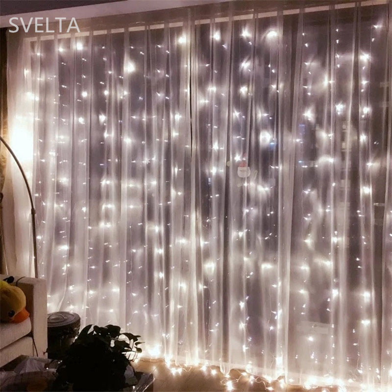 SVELTA 4X4M 512Bulbs LED String Fairy Lights Garland Jul Curtain - Festlig belysning - Foto 5