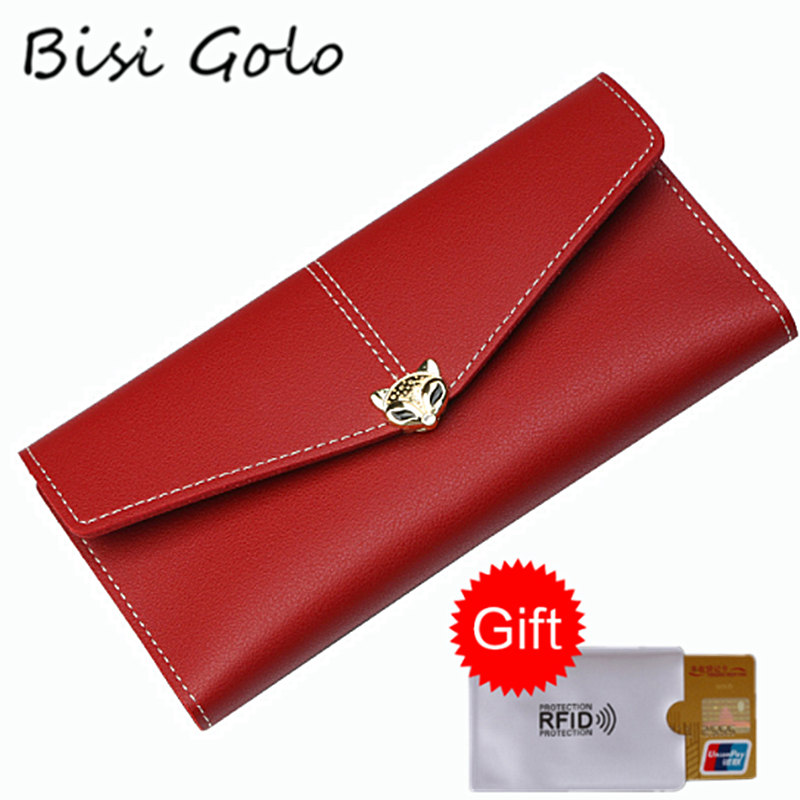 BISI GORO Fashion Women Ladies Wallets Long Style Multi-functional Card Wallet Purse Fresh PU leather Female Clutch Card Holders 1 black pu leather ladies long section of ultra thin magnetic buckle multi card wallet wallet size about 19 9 5 2cm