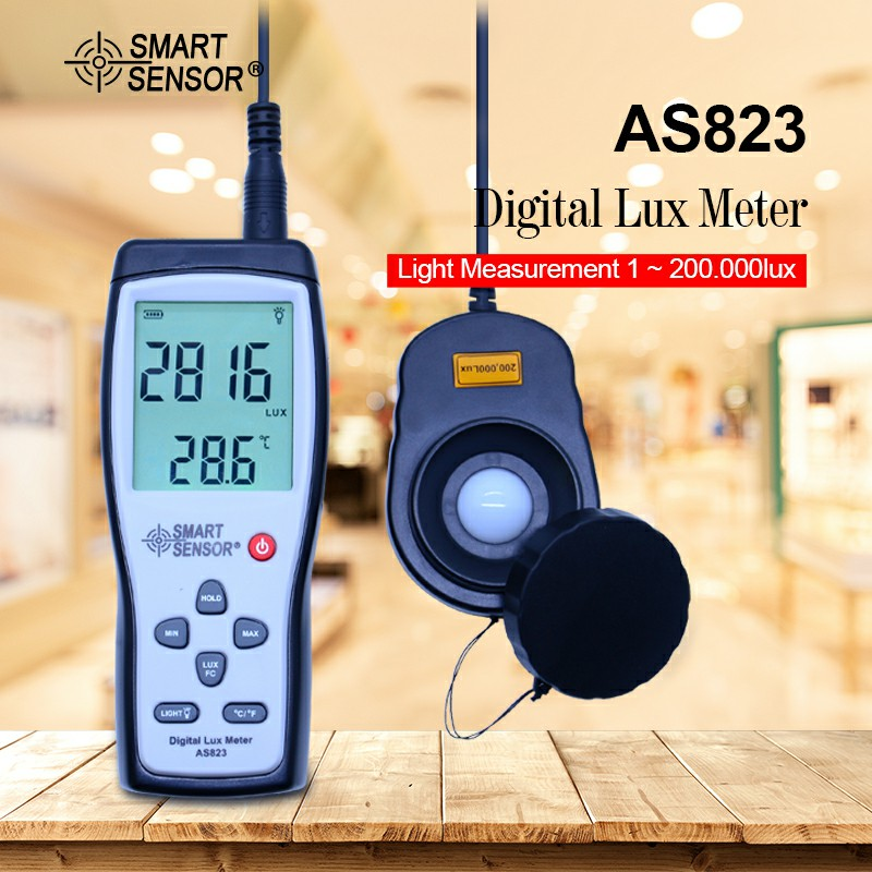 AS823 Digital Illuminance meter Lux meter light spectrum meter Luminometer luxmeter Light Measurement 1-200.000lux fast arrival victor illuminance meter vc1010b meter meter lumens tester illuminance meter brightness table