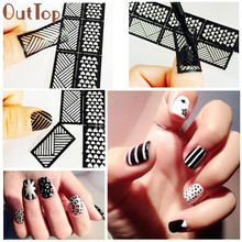 OutTop 1 Sheet New Vinyls Nail Hollow Irregular Grid Stencil Reusable Manicure Stickers Guide Stamping Template Pretty Nail Tool
