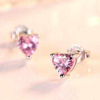Cute 925 Sterling Silver Minimal Earrings Female Tiny Pink Purple Red Crystal CZ Heart Stud Earrings.jpg 350x350 - Cute 925 Sterling Silver Minimal Earrings Female Tiny Pink Purple Red Crystal CZ Heart Stud Earrings Minimalist Jewelry SE040