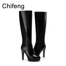 womens booties shoes women high heel boots woman winter high boots black women's genuine leather shoes