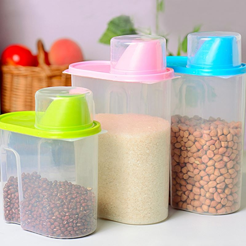 Kitchen Storage Bottles: New 1.6L Plastic Mason Jar Kitchen Storage Containers 17