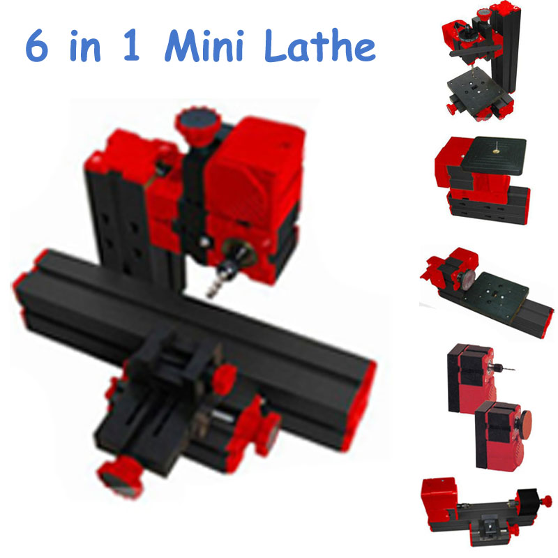 2 Sets Mini Lathe Machine 6 in 1 DIY Mini Micro Lathe Machine Tool 6 in 1, For Wood and Soft Metal adjustable double bearing live revolving centre diy for mini lathe machine