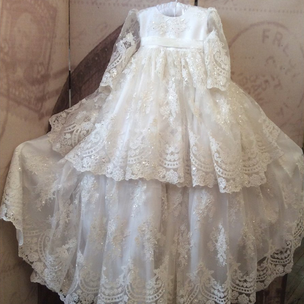 White/Ivory Baby Girl Dress Three Auqrter Beading Floor Length A-Line Luxury O-neck Formal Hot Sale Baby Girl Christening Gowns new white ivory nice spaghetti straps sequined knee length a line flower girl dress beautiful square collar birthday party gowns